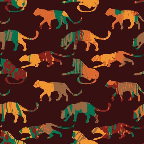 Sem costura padrão exótico com silhuetas abstratas de animais. vetor