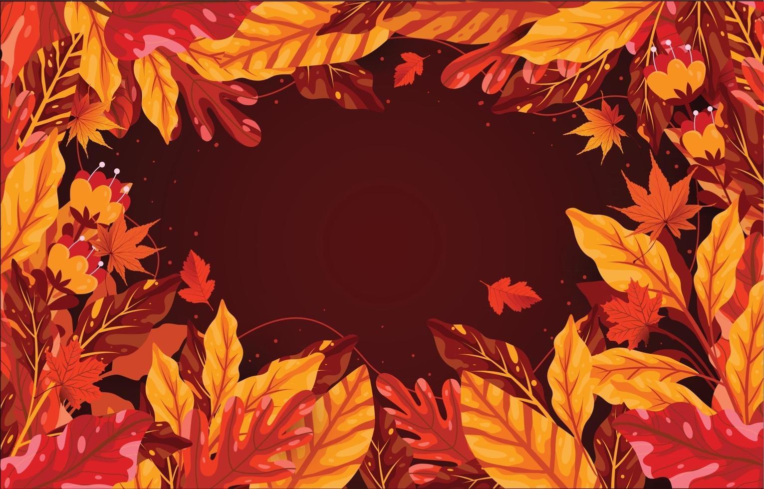 fundo brilhante da borda da folhagem de outono vetor