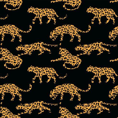 Sem costura padrão exótico com silhuetas abstratas de leopardos. vetor