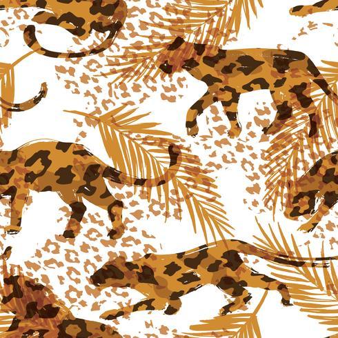 Sem costura padrão exótico com folhas de palmeira e silhuetas de animais vetor