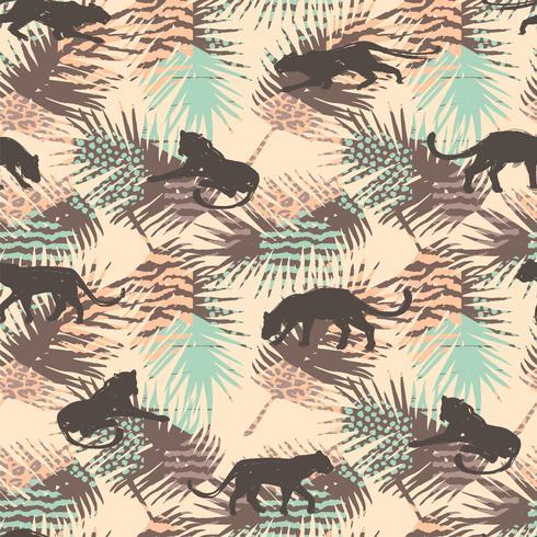 Padrão sem emenda com leopardos abstratos. vetor