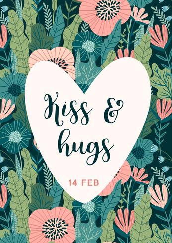 Conceito de design floral para o dia dos namorados e outros usuários. vetor