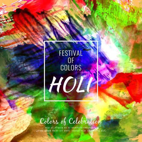 Resumo feliz Holi colorido festival decorativo ilustração de fundo vetor