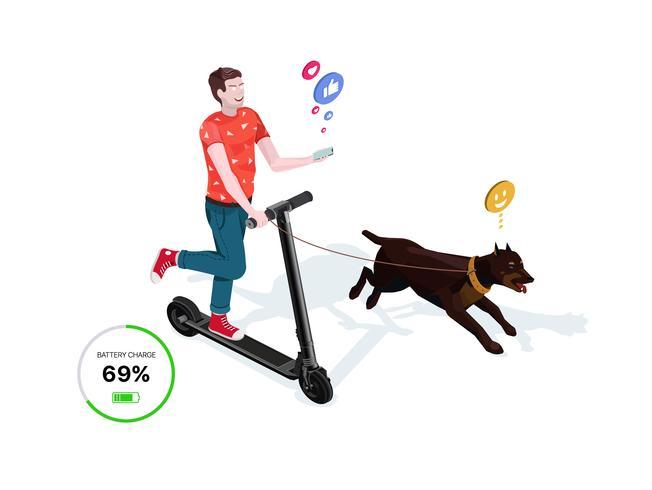 O cara está montando uma scooter elétrica com um cachorro. vetor