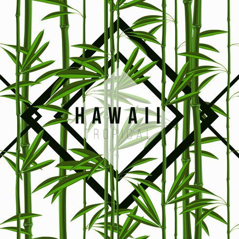 Padrão sem emenda com plantas tropicais de bambu com folhas e padrões geométricos vetor