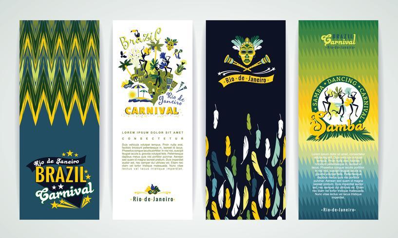 Banners verticais com fundo de carnaval do Brasil. vetor