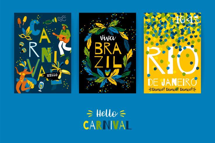 Carnaval do Brasil. Modelos de vetor para o conceito de carnaval e outros usuários.
