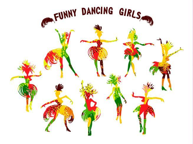 Ilustração em vetor de engraçadas meninas dançando em trajes de carnaval brilhante