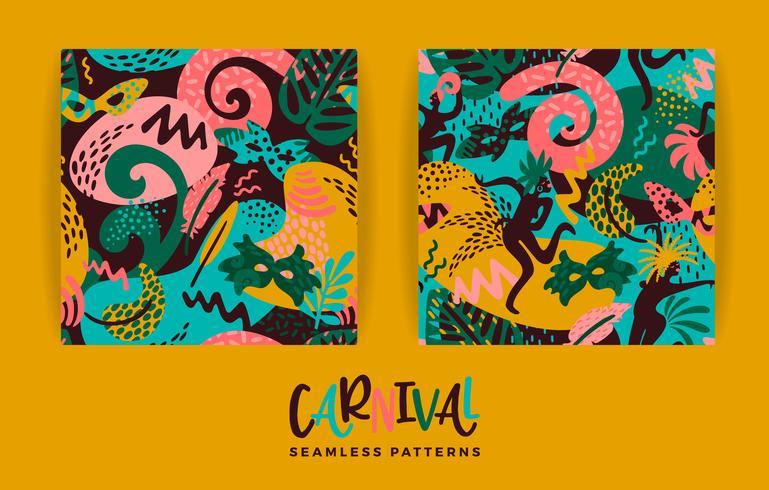 Carnaval do Brasil. Padrões sem emenda de vetores com elementos abstratos modernos.