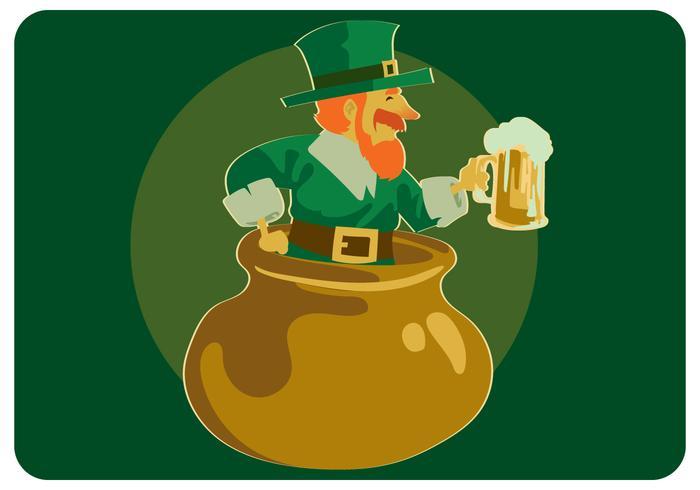 St.Patrick Com Cerveja No Vetor De Panela