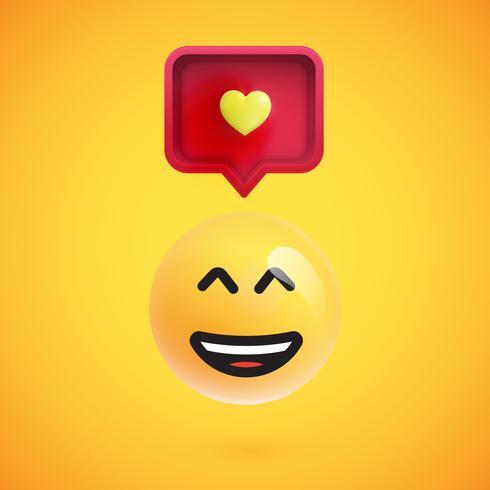 Emoticon 3D engraçado com bolha do discurso 3D e um coração, ilustração vetorial vetor