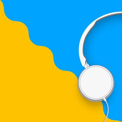 3D realista dividido fones de ouvido coloridos pastel com fios vetor