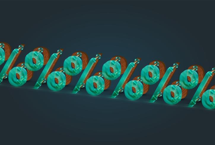 Por cento de alta detalhado madeira e vidro caracteres, ilustração vetorial vetor
