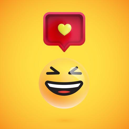 Emoticon 3D engraçado com balão 3D e um coração vetor