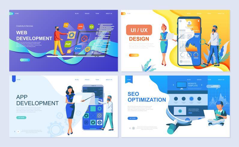 Conjunto de modelos de página de destino para Web e desenvolvimento de aplicativos, UI / UX Design, SEO vetor