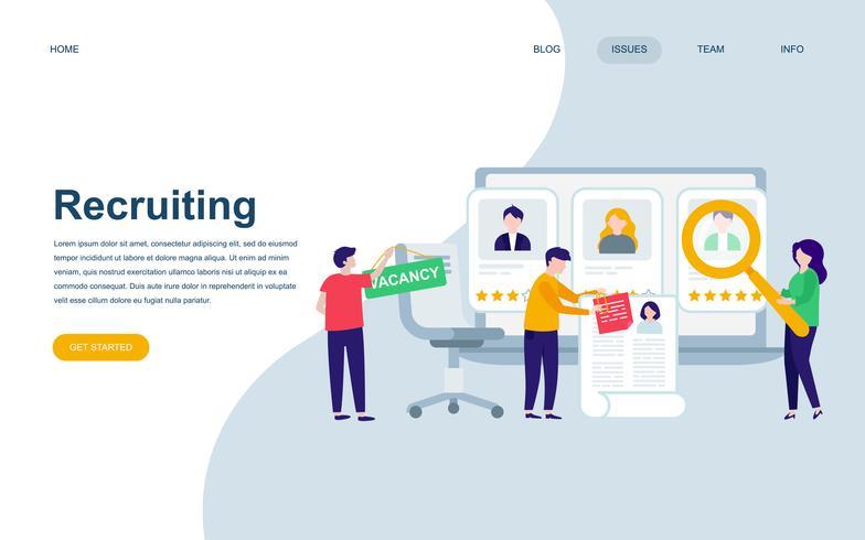 Modelo de design de página web plana moderna de recrutamento vetor