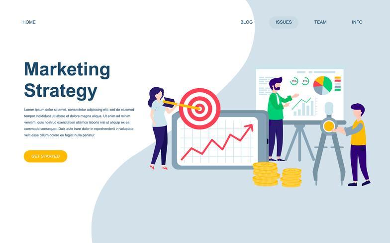 Modelo de design de página web plana moderna da estratégia de marketing vetor