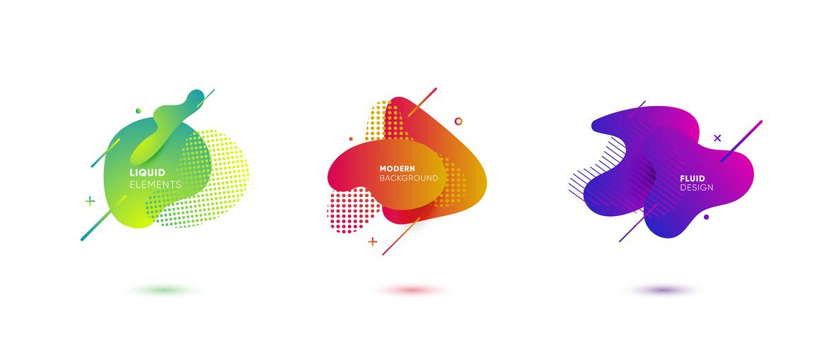 Banners abstratos gradientes com fluindo formas líquidas vetor