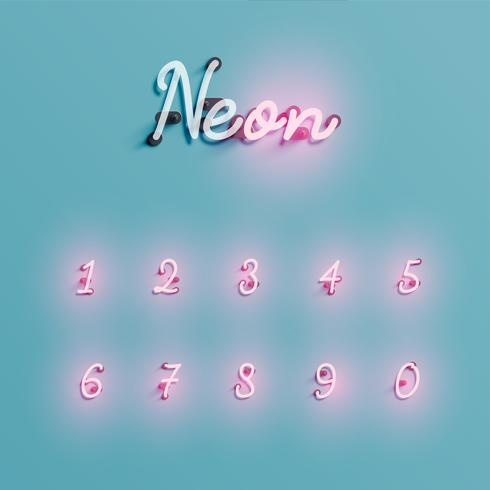 Conjunto de caracteres de néon realista, ilustração vetorial vetor
