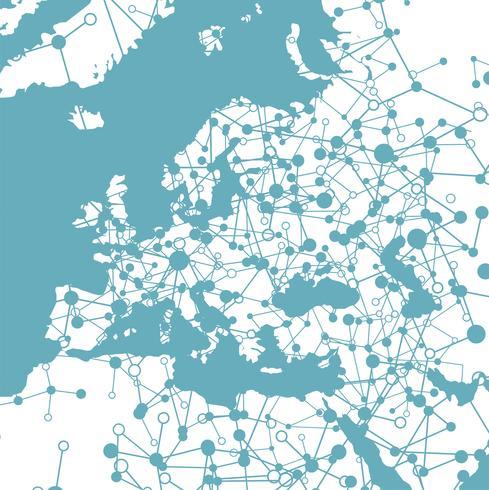 Mundo pontilhado com conexões, ilustração vetorial vetor