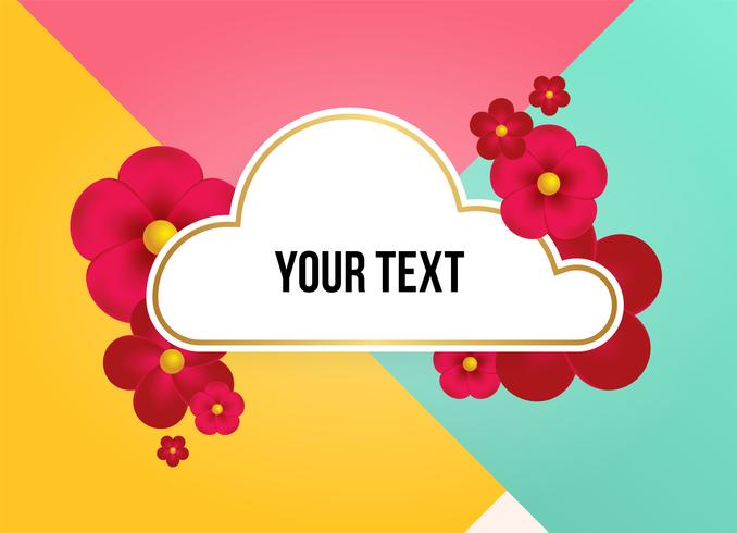 Caixa de texto com lindas flores coloridas. Ilustração vetorial vetor