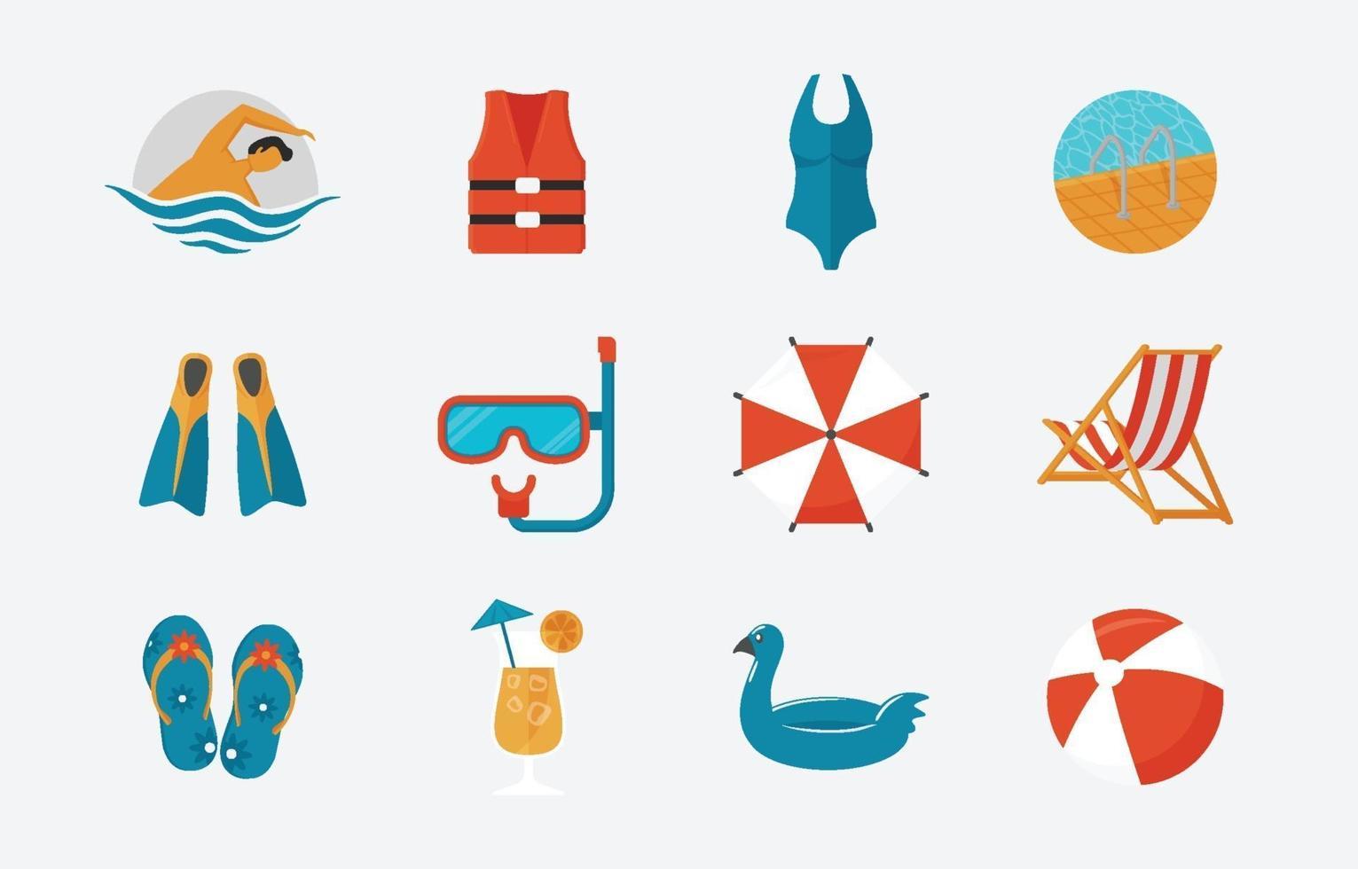 festa na piscina no ícone do verão vetor