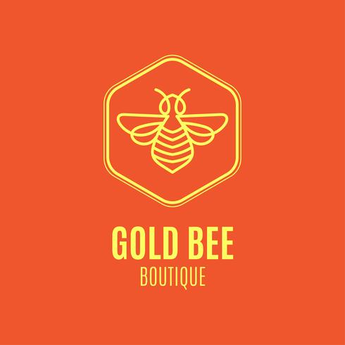Logotipo com inseto. Badge Bee para identidade corporativa vetor