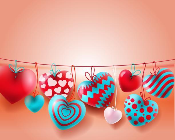Fundo de dia dos namorados com balões azuis, brancos vermelhos conceito de corações 3d vetor