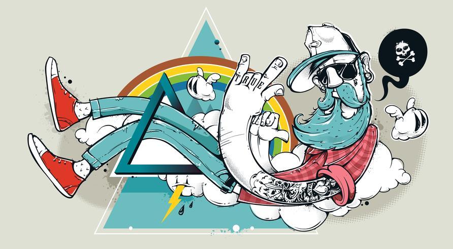 Hipster de graffiti abstrata vetor