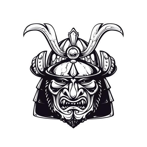Clipart de máscara de samurai vetor