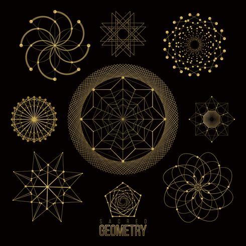 Formas de geometria sagrada, formas de linhas, logotipo, sinal vetor