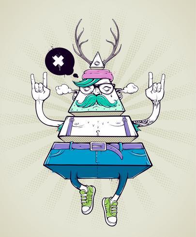 Personagem bizarra de hipster de triângulo vetor