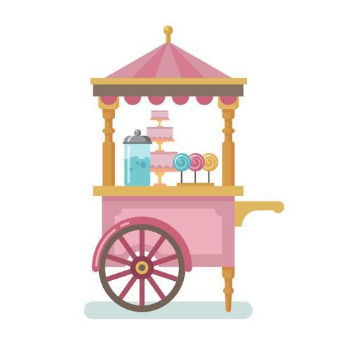 Ilustração plana de carrinho de doces vetor