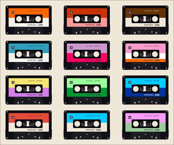 fundo colorido de cassetes de áudio vetor