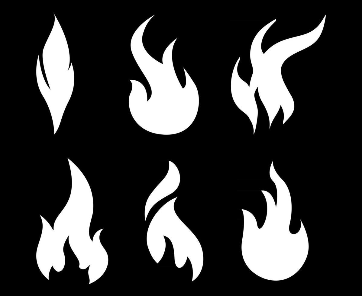 tocha fogo branco coleção ícones chama ilustração vetorial desenho abstrato com fundo preto vetor