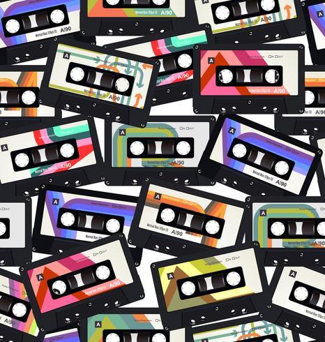 Padrão sem emenda com fundo colorido de cassetes de áudio antigo vetor