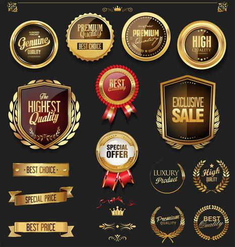 emblemas e etiquetas douradas vetor