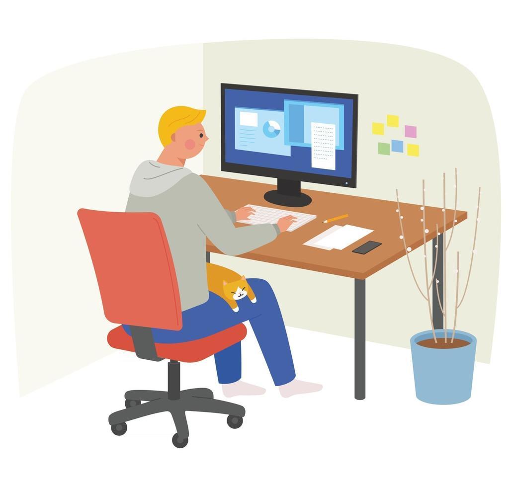 um homem está trabalhando em um computador e um gato está dormindo em seu colo. vetor