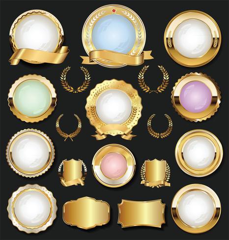 Venda de ouro rótulos coleção design retro vintage vetor