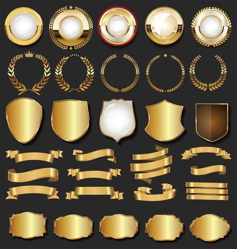 Quadros retrô dourado emblemas quadros e fitas coleção vetor