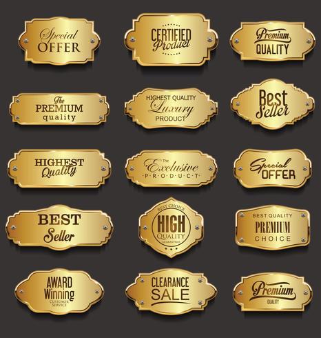 Ilustração em vetor retrô vintage moldura dourada venda coleção