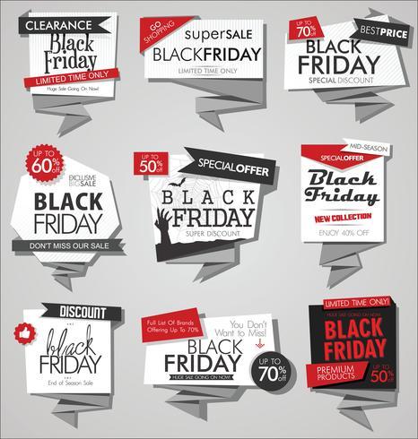 Coleção de banners de desconto e promoção de venda de sexta-feira negra e rótulos vetor