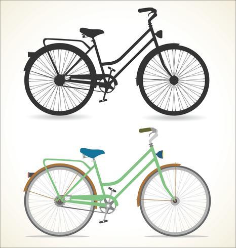Bicicleta vintage retrô isolada no fundo branco vetor