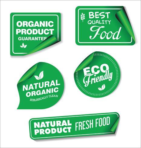 Coleção de rótulos de produtos orgânicos naturais vetor