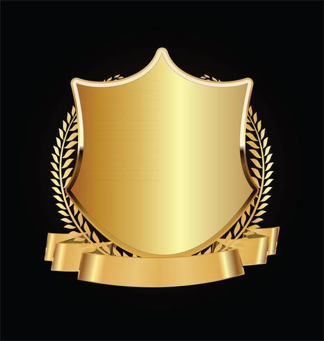 Escudo de ouro e preto com louros de ouro vetor