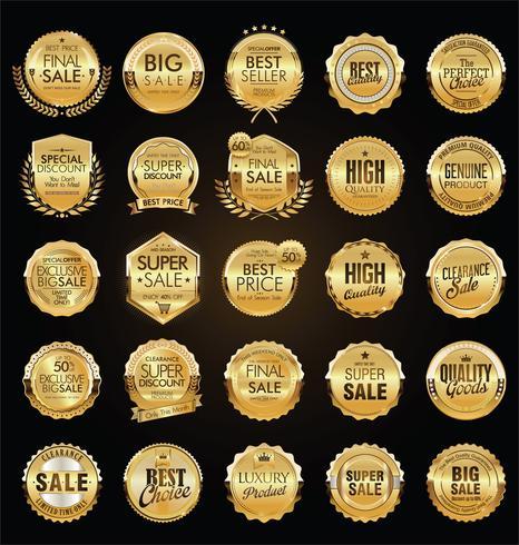 Coleção de ilustração vetorial retrô distintivo dourado vetor