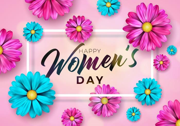 Ilustração de feriado internacional com Design de flores sobre fundo rosa vetor
