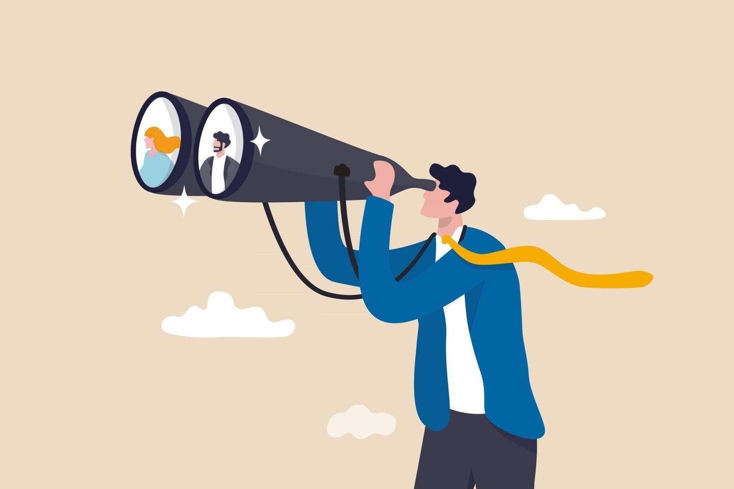 procurando por candidato, RH RH encontrar pessoas para preencher uma vaga de emprego, encontrar um cliente ou conceito de oportunidade de carreira, empresário hr olhar através de binóculos para encontrar candidatos. vetor