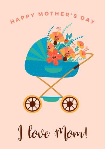 Feliz Dia das Mães. Ilustração vetorial com carrinho de bebê. vetor