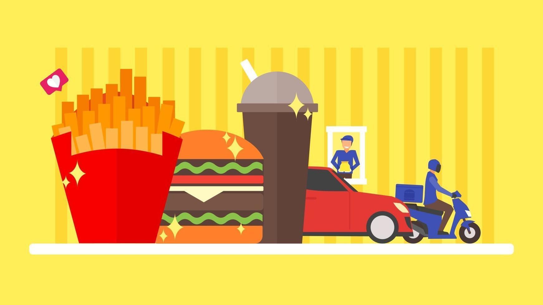 conceito de fast food. entrega e unidade através do pedido de takeaway. hambúrguer, hambúrguer, refeição, batata frita, ilustração de refrigerante. fundo de design plano. ilustração em vetor personagem pequenas pessoas.